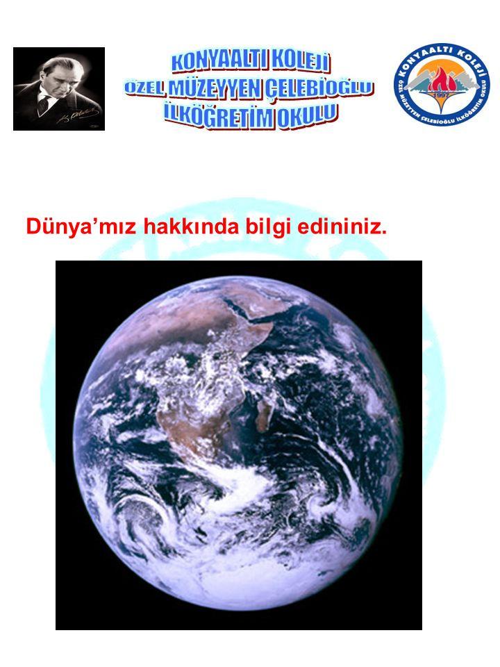 Dünya'mız hakkında bilgi edininiz.