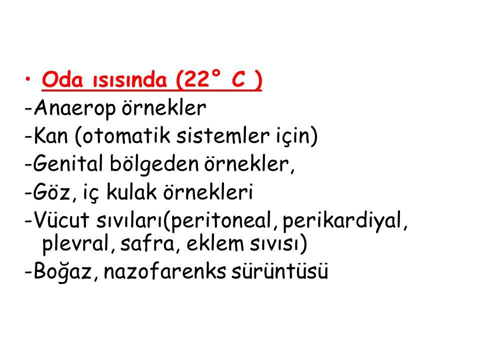Oda ısısında (22° C )  -Anaerop örnekler -Kan (otomatik sistemler için)  -Genital bölgeden örnekler, -Göz, iç kulak örnekleri -Vücut sıvıları(perito