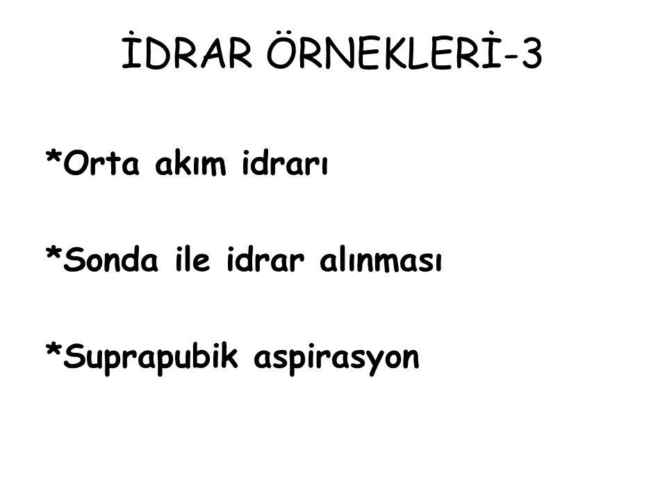 İDRAR ÖRNEKLERİ-3 *Orta akım idrarı *Sonda ile idrar alınması *Suprapubik aspirasyon