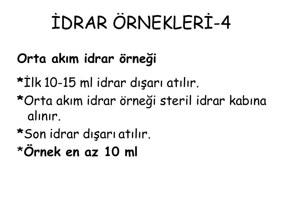 İDRAR ÖRNEKLERİ-4 Orta akım idrar örneği *İlk 10-15 ml idrar dışarı atılır. *Orta akım idrar örneği steril idrar kabına alınır. *Son idrar dışarı atıl