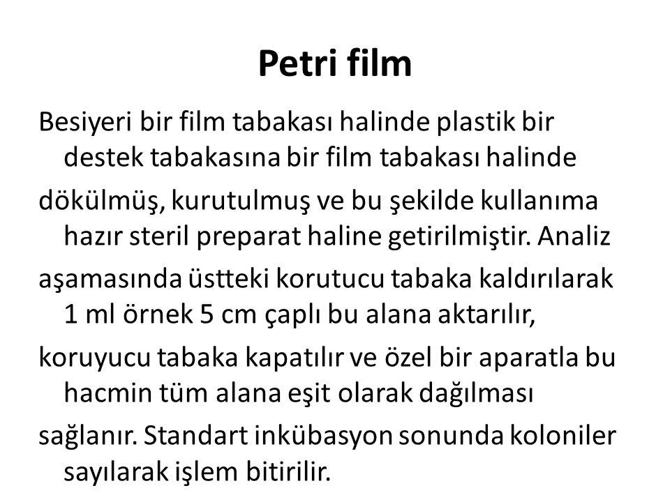 Petri film Besiyeri bir film tabakası halinde plastik bir destek tabakasına bir film tabakası halinde dökülmüş, kurutulmuş ve bu şekilde kullanıma haz