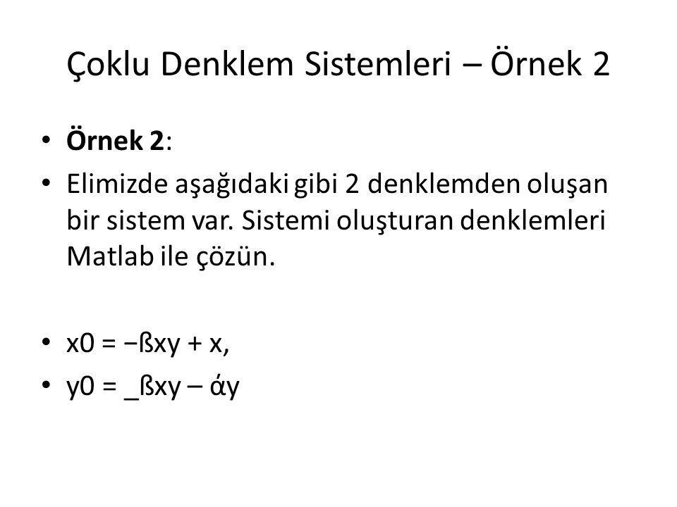 Çoklu Denklem Sistemleri – Örnek 2 Örnek 2: Elimizde aşağıdaki gibi 2 denklemden oluşan bir sistem var. Sistemi oluşturan denklemleri Matlab ile çözün