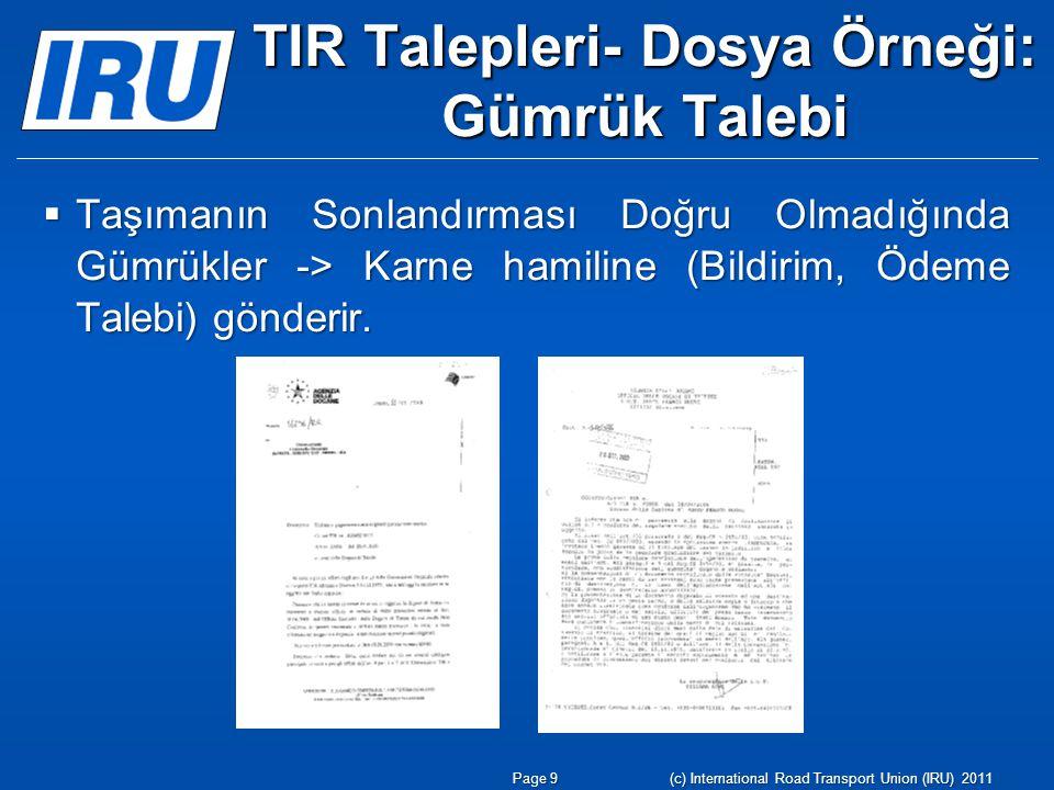 TIR Talepleri- Dosya Örneği: Gümrük Talebi  Taşımanın Sonlandırması Doğru Olmadığında Gümrükler -> Karne hamiline (Bildirim, Ödeme Talebi) gönderir.
