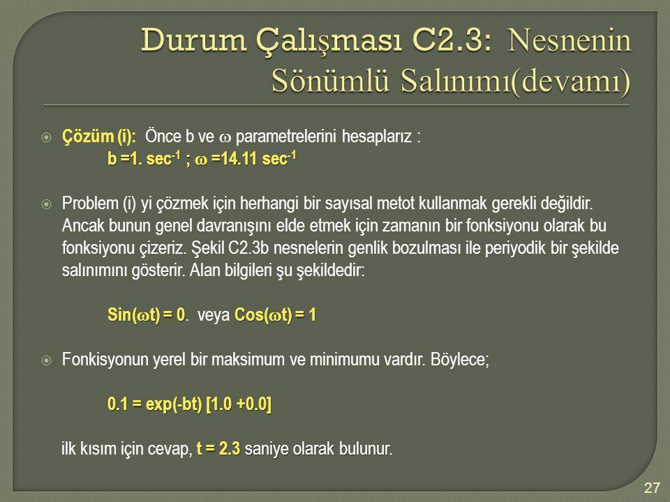  Çözüm (i): Önce b ve  parametrelerini hesaplarız : b =1.