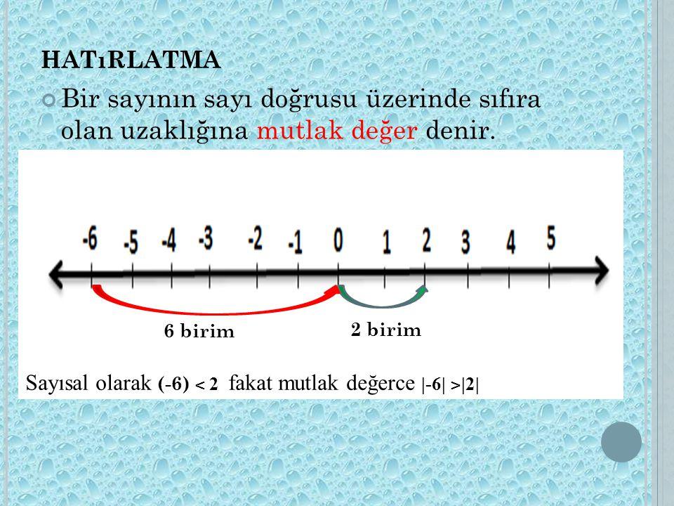 HATıRLATMA Bir sayının sayı doğrusu üzerinde sıfıra olan uzaklığına mutlak değer denir. 2 birim 6 birim Sayısal olarak (-6) ˂ 2 fakat mutlak değerce |