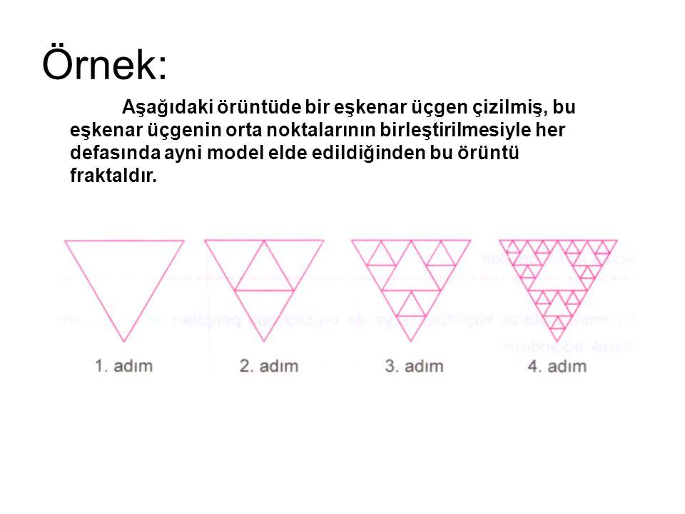 Örnek: Aşağıdaki örüntüde bir eşkenar üçgen çizilmiş, bu eşkenar üçgenin orta noktalarının birleştirilmesiyle her defasında ayni model elde edildiğind