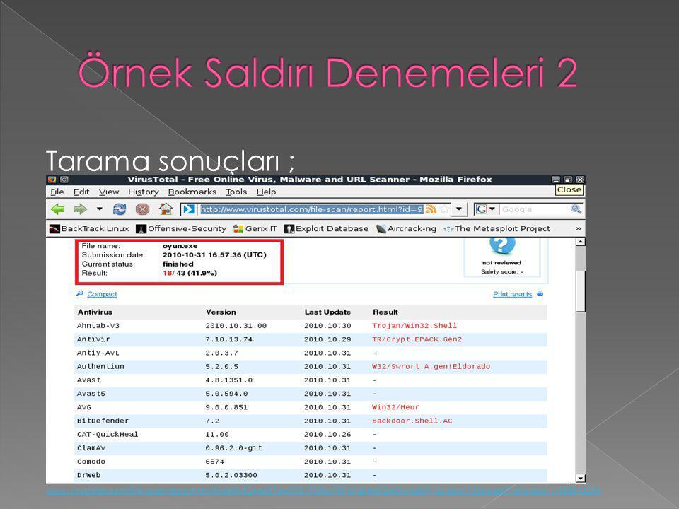 Tarama sonuçları ; www.virustotal.com/file-scan/report.html?id=9b524a487ed70317000c787d9354d02f404cfa80712c6bd1733bc4d97d3cdad1-1288544256