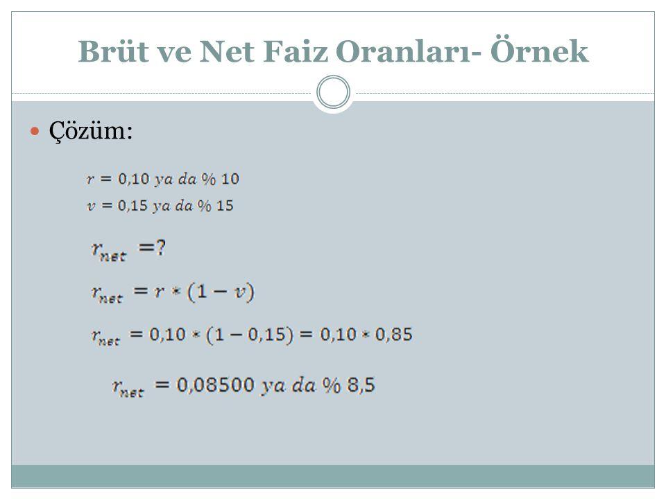 Brüt ve Net Faiz Oranları- Örnek Çözüm: