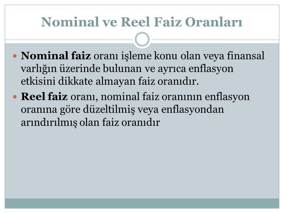 Nominal ve Reel Faiz Oranları Nominal faiz oranı işleme konu olan veya finansal varlığın üzerinde bulunan ve ayrıca enflasyon etkisini dikkate almayan faiz oranıdır.