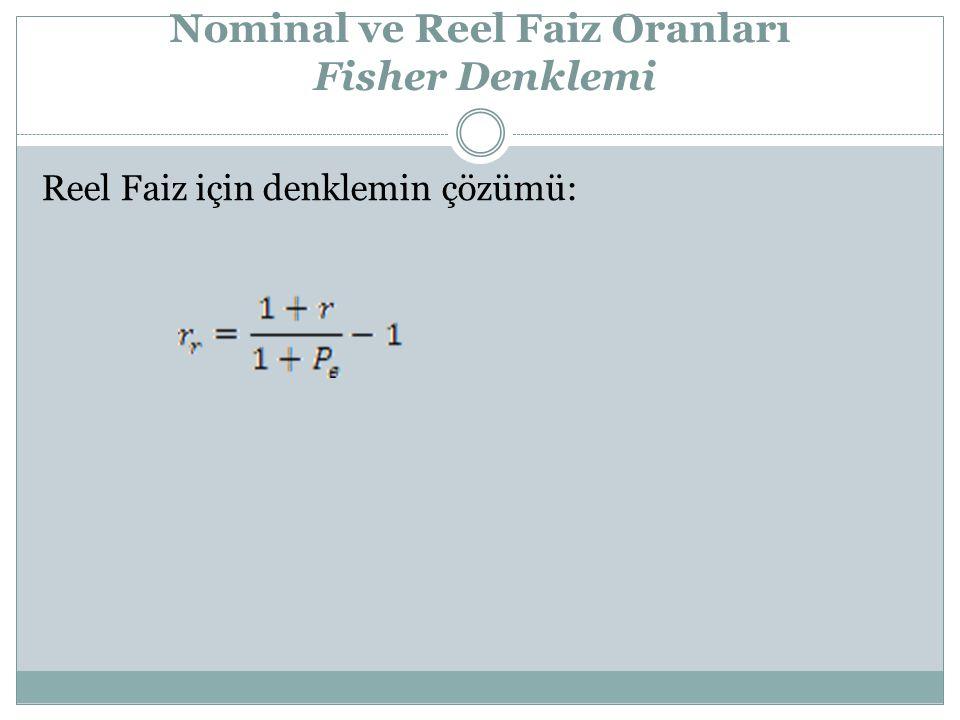 Nominal ve Reel Faiz Oranları Fisher Denklemi Reel Faiz için denklemin çözümü: