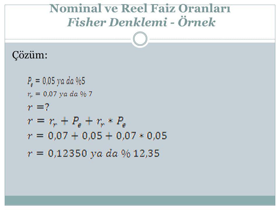 Nominal ve Reel Faiz Oranları Fisher Denklemi - Örnek Çözüm: