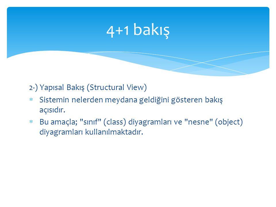 2-) Yapısal Bakış (Structural View)  Sistemin nelerden meydana geldiğini gösteren bakış açısıdır.  Bu amaçla;