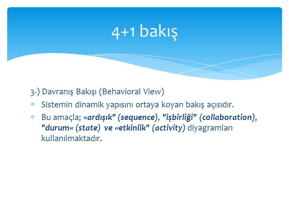 3-) Davranış Bakışı (Behavioral View)  Sistemin dinamik yapısını ortaya koyan bakış açısıdır.  Bu amaçla; «ardışık