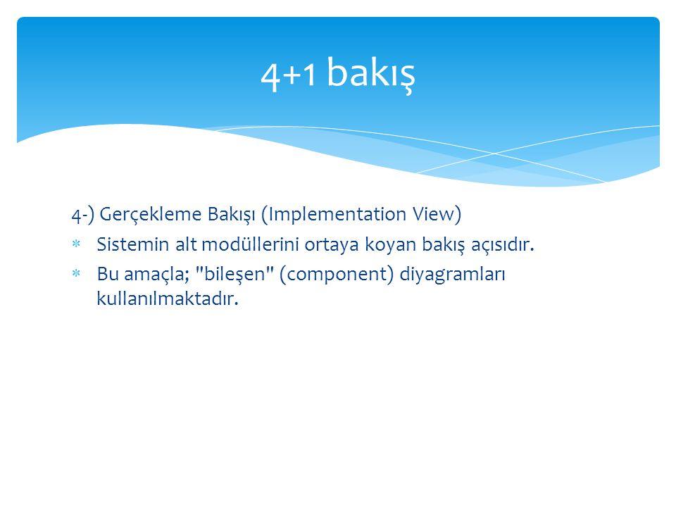 4-) Gerçekleme Bakışı (Implementation View)  Sistemin alt modüllerini ortaya koyan bakış açısıdır.  Bu amaçla;
