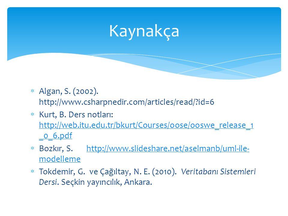  Algan, S. (2002). http://www.csharpnedir.com/articles/read/?id=6  Kurt, B. Ders notları: http://web.itu.edu.tr/bkurt/Courses/oose/ooswe_release_1 _