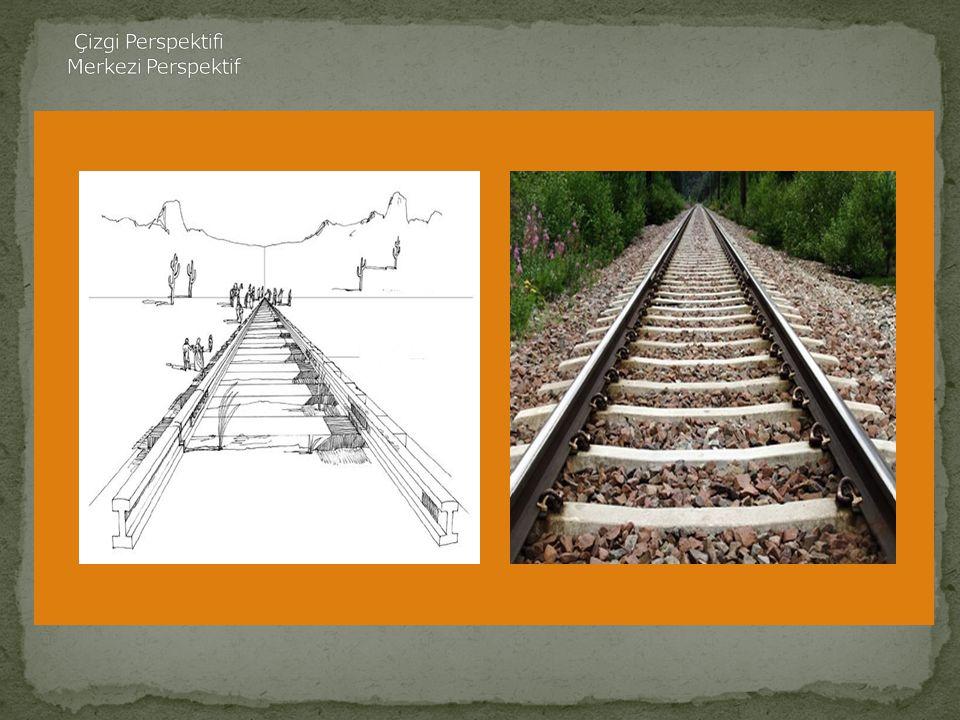 Merkezi Perspektif Merkezi Perspektif,gördüklerimizi bulunduğumuz yere göre ve göründükleri biçimde çizme tekniğidir.Örneğin,tren raylarına tam karşıd