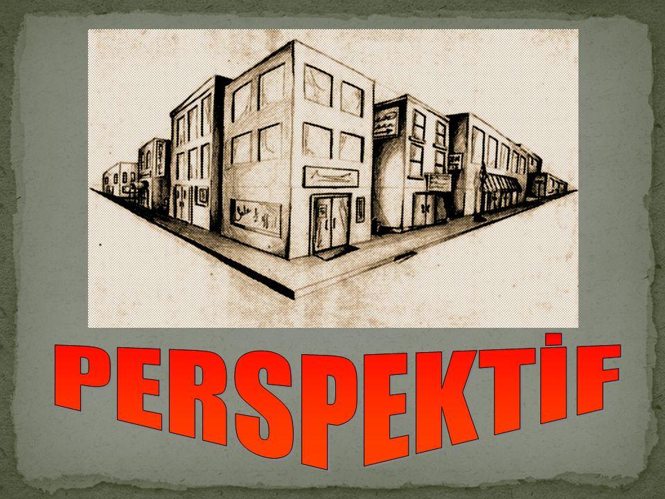 İki Kaçış Noktalı Perspektif Üstteki resimde ufuk çizgisi kaçış noktaları ve kaçan çizgileri görmekteyiz.