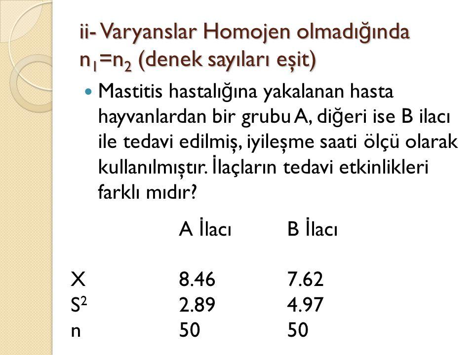 ii- Varyanslar Homojen olmadı ğ ında n 1 =n 2 (denek sayıları eşit) Mastitis hastalı ğ ına yakalanan hasta hayvanlardan bir grubu A, di ğ eri ise B il