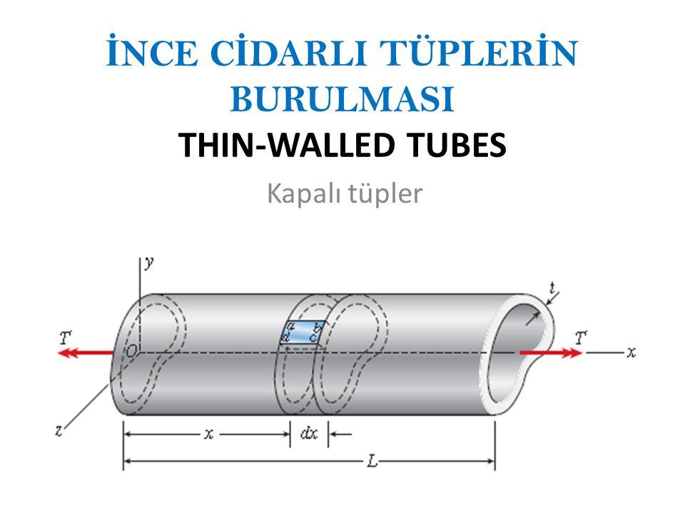İ NCE C İ DARLI TÜPLER İ N BURULMASI THIN-WALLED TUBES Kapalı tüpler