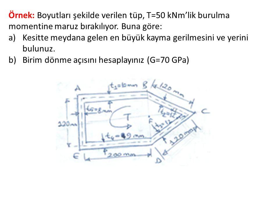 Örnek: Boyutları şekilde verilen tüp, T=50 kNm'lik burulma momentine maruz bırakılıyor. Buna göre: a)Kesitte meydana gelen en büyük kayma gerilmesini
