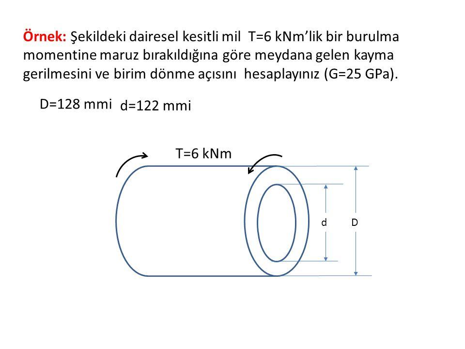 Örnek: Şekildeki dairesel kesitli mil T=6 kNm'lik bir burulma momentine maruz bırakıldığına göre meydana gelen kayma gerilmesini ve birim dönme açısın