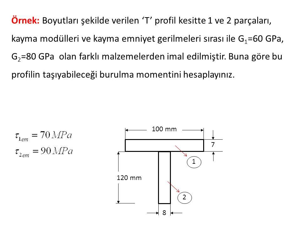 100 mm 120 mm 8 7 1 2 Örnek: Boyutları şekilde verilen 'T' profil kesitte 1 ve 2 parçaları, kayma modülleri ve kayma emniyet gerilmeleri sırası ile G