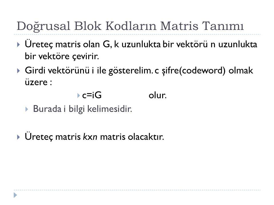 Doğrusal Blok Kodların Matris Tanımı  Üreteç matris olan G, k uzunlukta bir vektörü n uzunlukta bir vektöre çevirir.  Girdi vektörünü i ile gösterel