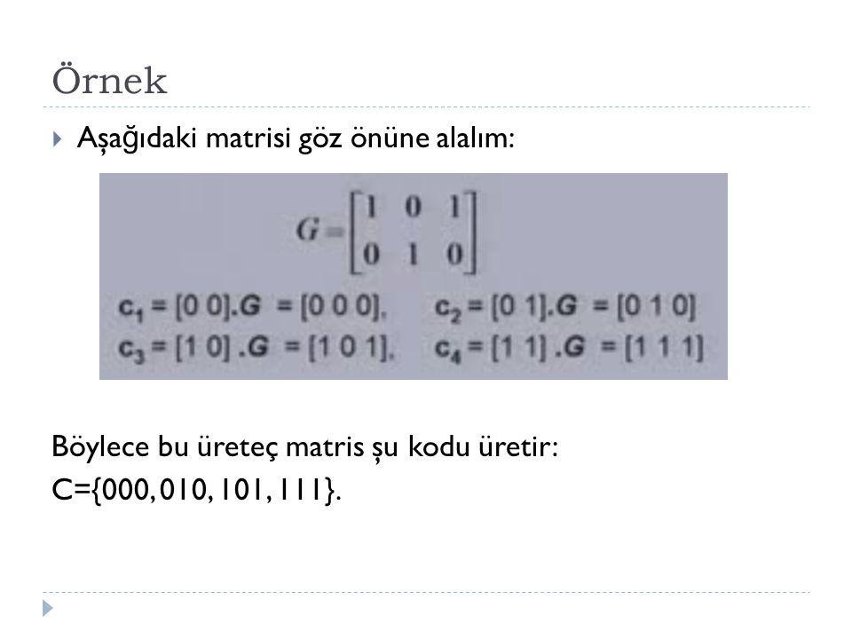 Örnek  Aşa ğ ıdaki matrisi göz önüne alalım: Böylece bu üreteç matris şu kodu üretir: C={000, 010, 101, 111}.