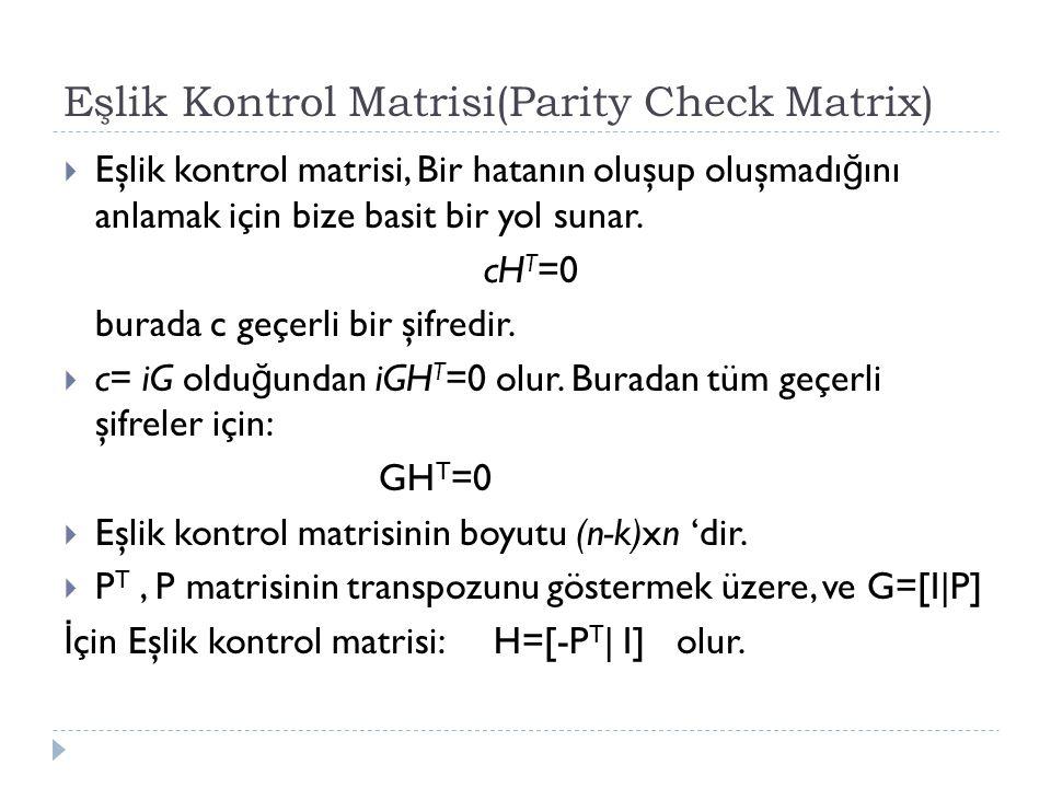 Eşlik Kontrol Matrisi(Parity Check Matrix)  Eşlik kontrol matrisi, Bir hatanın oluşup oluşmadı ğ ını anlamak için bize basit bir yol sunar. cH T =0 b