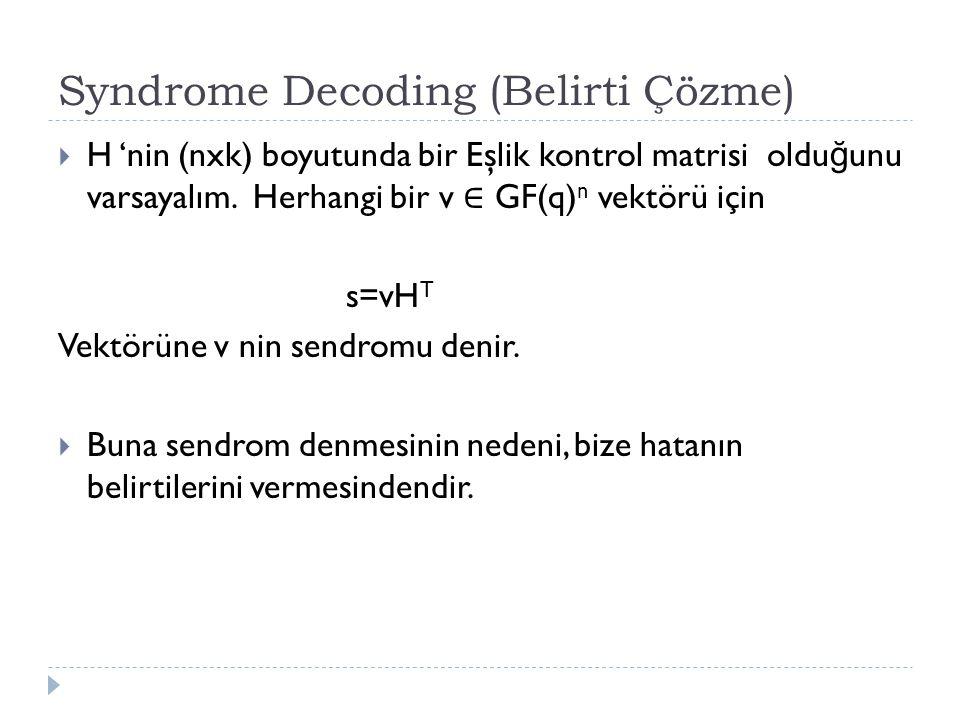 Syndrome Decoding (Belirti Çözme)  H 'nin (nxk) boyutunda bir Eşlik kontrol matrisi oldu ğ unu varsayalım. Herhangi bir v ∈ GF(q) n vektörü için s=vH