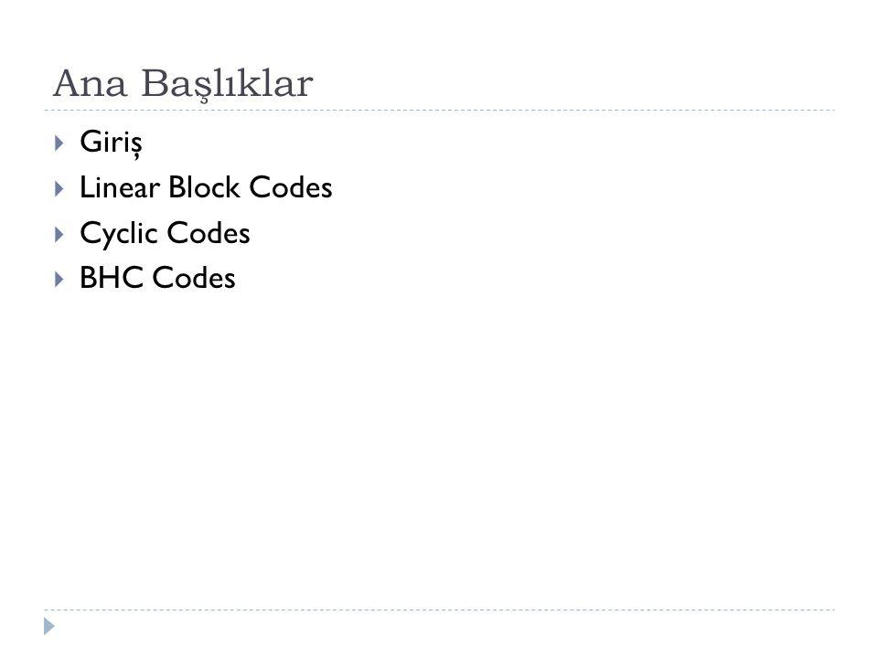 Bose-Chaudhuri Hocquenghem(BCH) Codes  BCH kod sınıfı bilinen en güçlü do ğ rusal dairesel blok kod sınıflarından biridir.