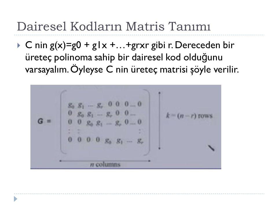 Dairesel Kodların Matris Tanımı  C nin g(x)=g0 + g1x +…+grxr gibi r. Dereceden bir üreteç polinoma sahip bir dairesel kod oldu ğ unu varsayalım. Öyle