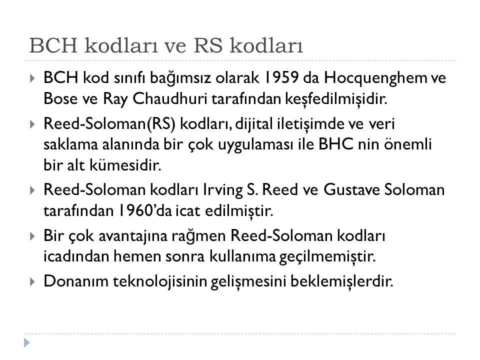 BCH kodları ve RS kodları  BCH kod sınıfı ba ğ ımsız olarak 1959 da Hocquenghem ve Bose ve Ray Chaudhuri tarafından keşfedilmişidir.  Reed-Soloman(R