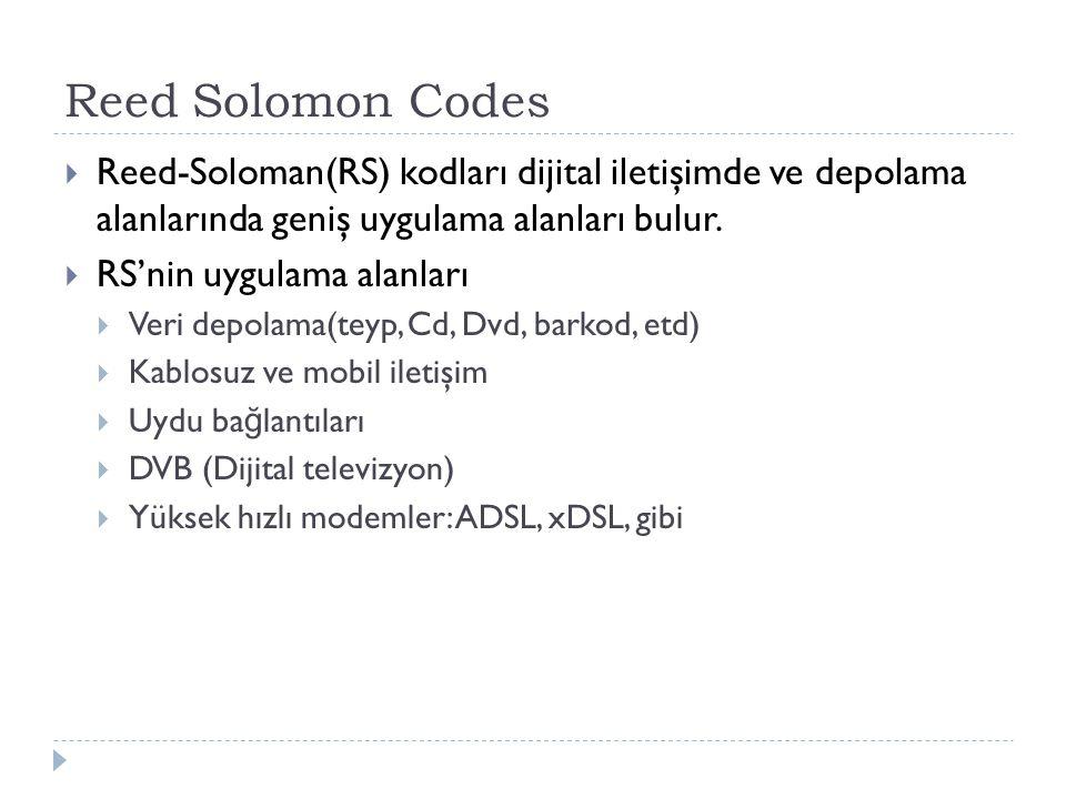 Reed Solomon Codes  Reed-Soloman(RS) kodları dijital iletişimde ve depolama alanlarında geniş uygulama alanları bulur.  RS'nin uygulama alanları  V