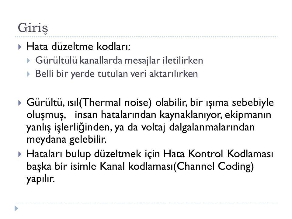 Giriş  Hata düzeltme kodları:  Gürültülü kanallarda mesajlar iletilirken  Belli bir yerde tutulan veri aktarılırken  Gürültü, ısıl(Thermal noise)