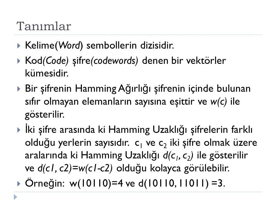 Tanımlar  Kelime(Word) sembollerin dizisidir.  Kod(Code) şifre(codewords) denen bir vektörler kümesidir.  Bir şifrenin Hamming A ğ ırlı ğ ı şifreni