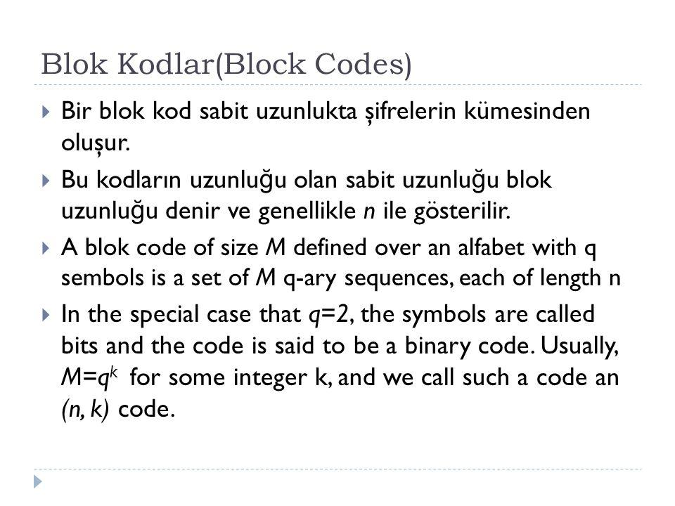 Blok Kodlar(Block Codes)  Bir blok kod sabit uzunlukta şifrelerin kümesinden oluşur.  Bu kodların uzunlu ğ u olan sabit uzunlu ğ u blok uzunlu ğ u d