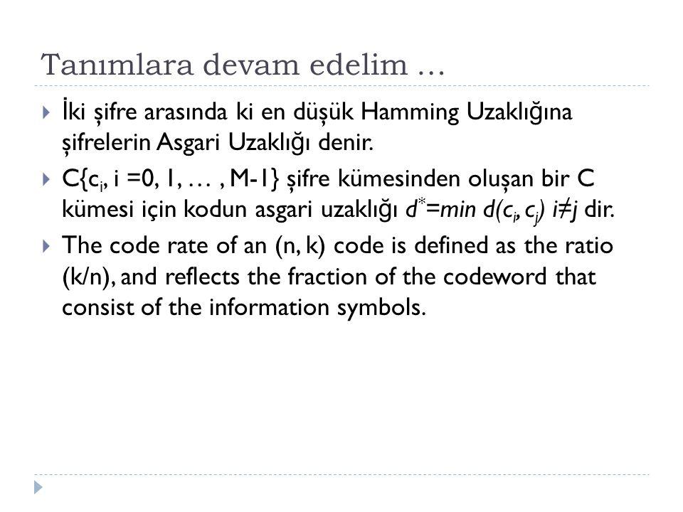 Tanımlara devam edelim …  İ ki şifre arasında ki en düşük Hamming Uzaklı ğ ına şifrelerin Asgari Uzaklı ğ ı denir.  C{c i, i =0, 1, …, M-1} şifre kü