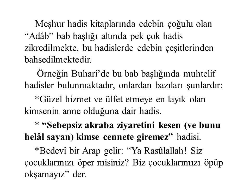 """Meşhur hadis kitaplarında edebin çoğulu olan """"Adâb"""" bab başlığı altında pek çok hadis zikredilmekte, bu hadislerde edebin çeşitlerinden bahsedilmekted"""