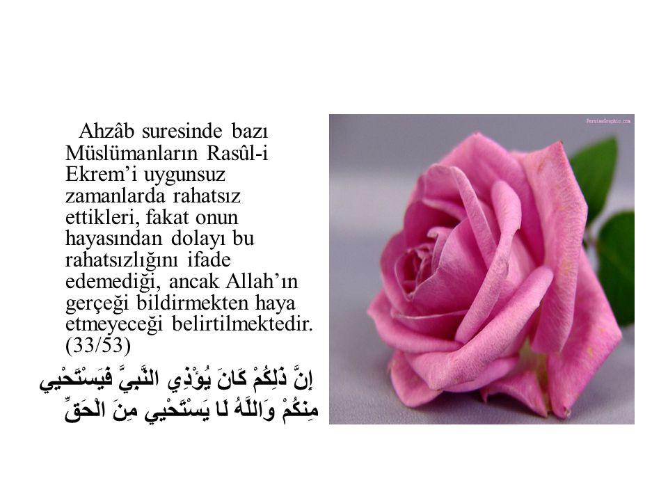 Ahzâb suresinde bazı Müslümanların Rasûl-i Ekrem'i uygunsuz zamanlarda rahatsız ettikleri, fakat onun hayasından dolayı bu rahatsızlığını ifade edemed