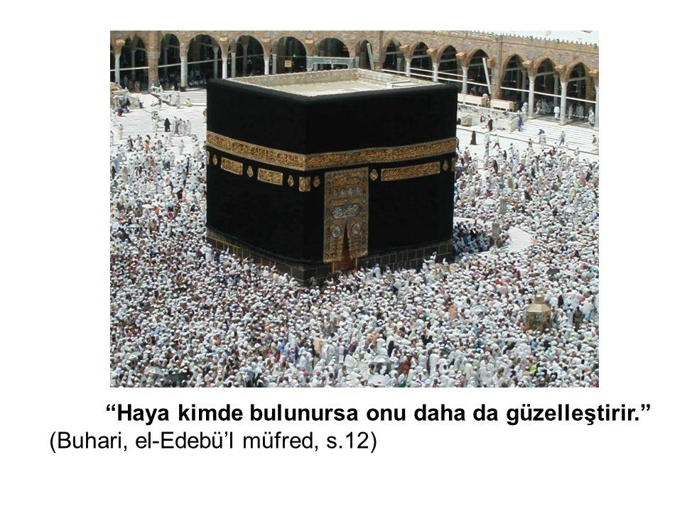 """""""Haya kimde bulunursa onu daha da güzelleştirir."""" (Buhari, el-Edebü'l müfred, s.12)"""