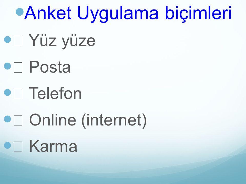 Anket Uygulama biçimleri Yüz yüze Posta Telefon Online (internet) Karma
