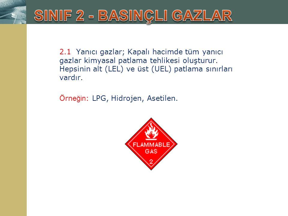 2.1 Yanıcı gazlar; Kapalı hacimde tüm yanıcı gazlar kimyasal patlama tehlikesi oluşturur. Hepsinin alt (LEL) ve üst (UEL) patlama sınırları vardır. Ör