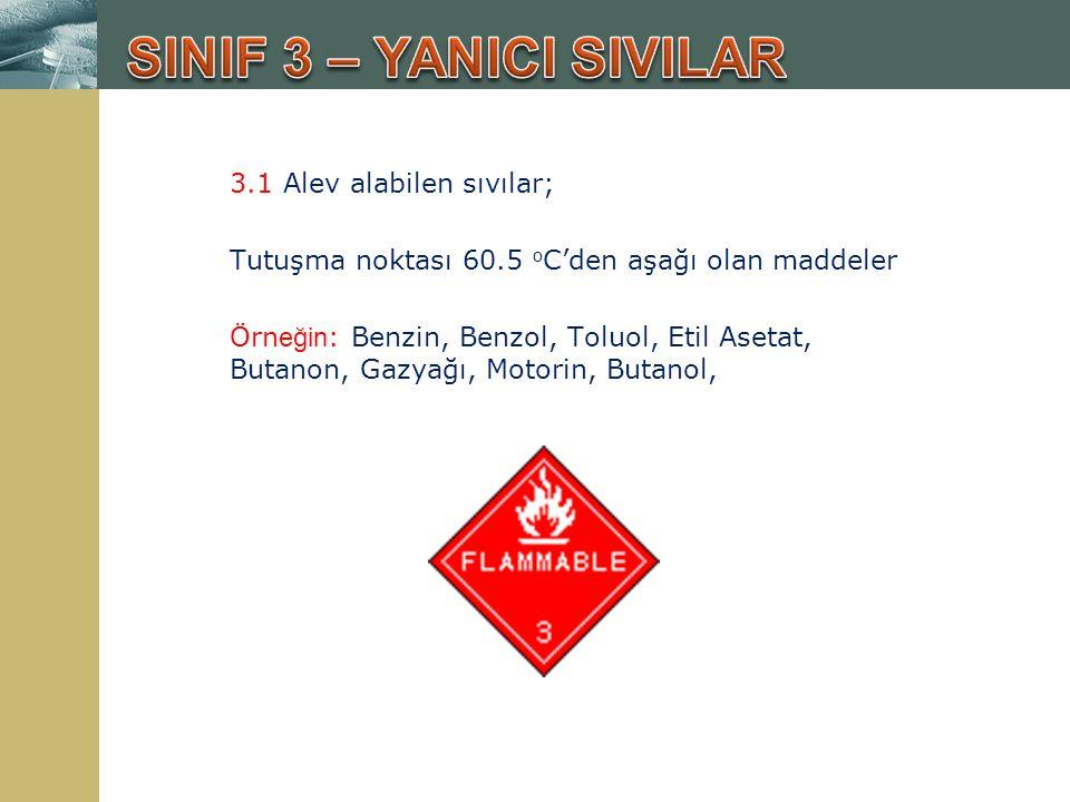 3.1 Alev alabilen sıvılar; Tutuşma noktası 60.5 o C'den aşağı olan maddeler Örn eğin : Benzin, Benzol, Toluol, Etil Asetat, Butanon, Gazyağı, Motorin,