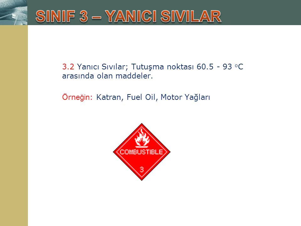 3.2 Yanıcı Sıvılar; Tutuşma noktası 60.5 - 93 o C arasında olan maddeler. Örn eğin : Katran, Fuel Oil, Motor Yağları