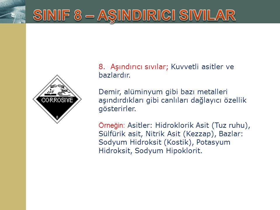 8. Aşındırıcı sıvılar; Kuvvetli asitler ve bazlardır. Demir, alüminyum gibi bazı metalleri aşındırdıkları gibi canlıları dağlayıcı özellik gösterirler