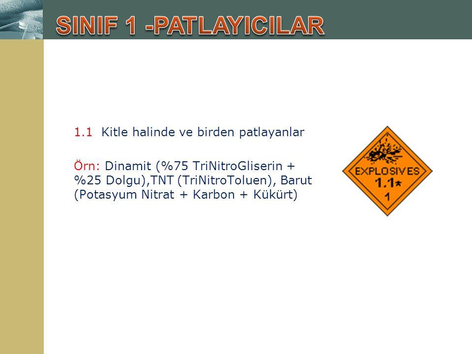 1.1 Kitle halinde ve birden patlayanlar Örn: Dinamit (%75 TriNitroGliserin + %25 Dolgu),TNT (TriNitroToluen), Barut (Potasyum Nitrat + Karbon + Kükürt