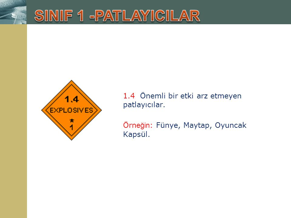 9.Diğer tehlikeli maddeler; Yukarıdaki sınıflandırmanın dışında kalan tehlikeli maddeler.