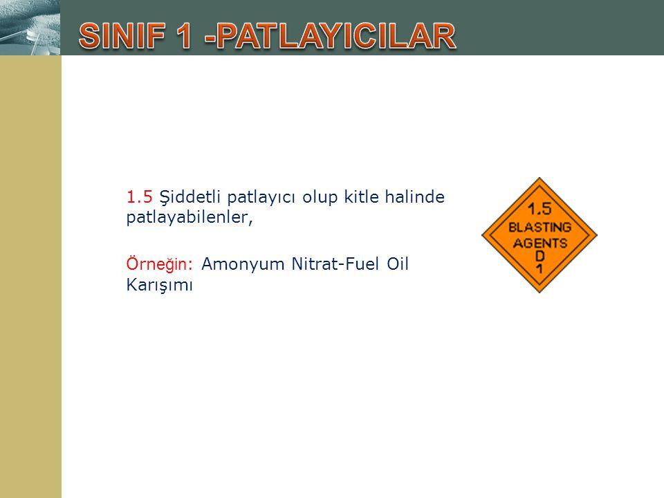 1.5 Şiddetli patlayıcı olup kitle halinde patlayabilenler, Örn eğin : Amonyum Nitrat-Fuel Oil Karışımı