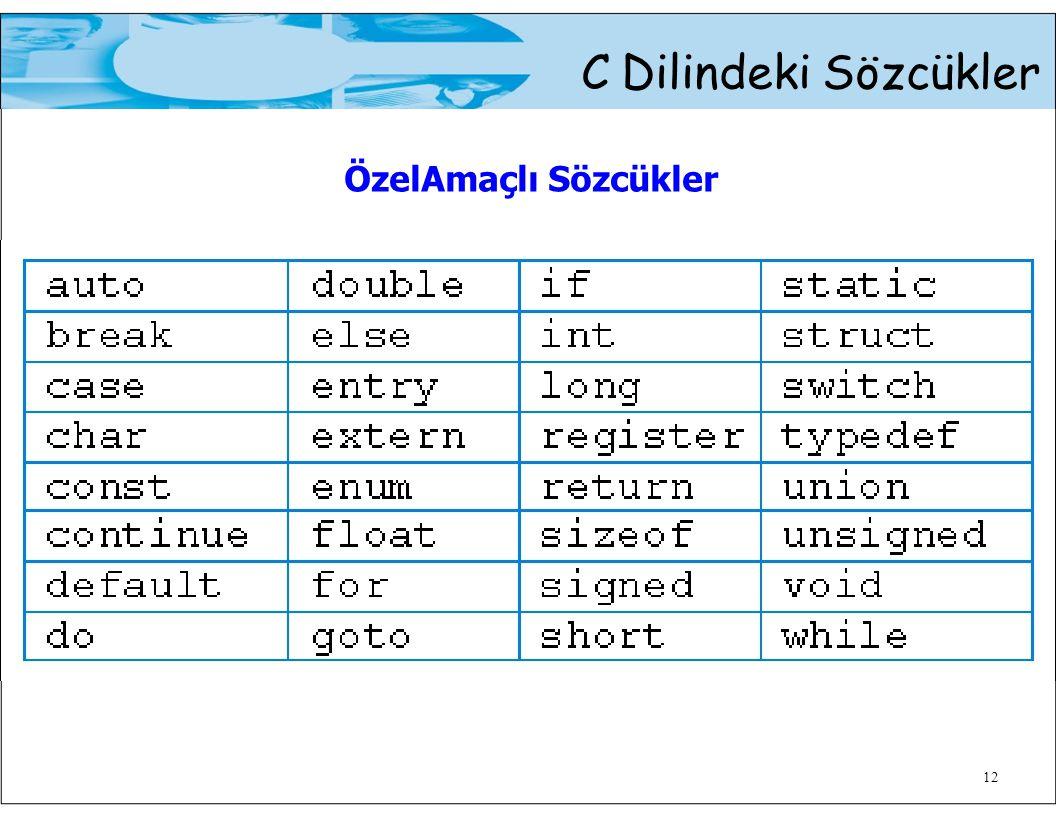 C Dilindeki Sözcükler ÖzelAmaçlı Sözcükler 12